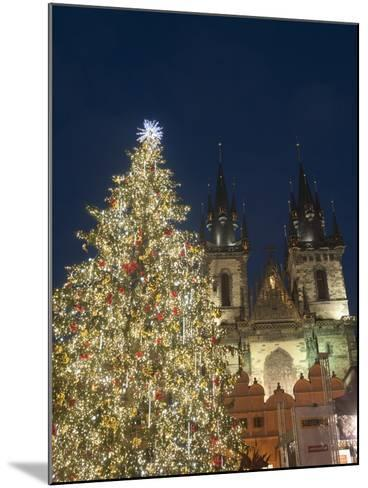 Gothic Tyn Church, Christmas Tree at Twilight in Old Town Square, Stare Mesto, Prague-Richard Nebesky-Mounted Photographic Print