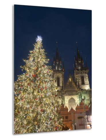 Gothic Tyn Church, Christmas Tree at Twilight in Old Town Square, Stare Mesto, Prague-Richard Nebesky-Metal Print