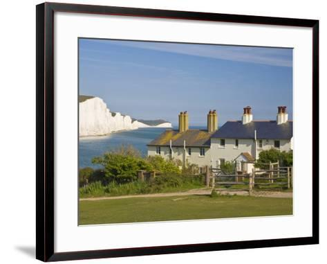 View of the Seven Sisters Cliffs, the Coastguard Cottages on Seaford Head, East Sussex-Neale Clarke-Framed Art Print