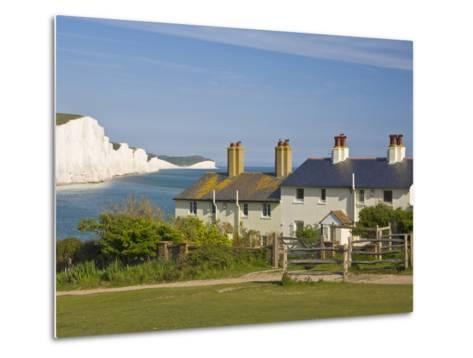 View of the Seven Sisters Cliffs, the Coastguard Cottages on Seaford Head, East Sussex-Neale Clarke-Metal Print