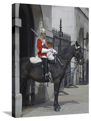 A Horse Guard in Whitehall, London, England, United Kingdom, Europe-James Emmerson-Stretched Canvas Print