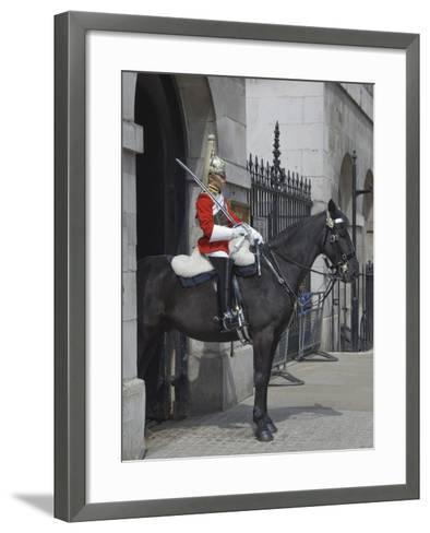 A Horse Guard in Whitehall, London, England, United Kingdom, Europe-James Emmerson-Framed Art Print