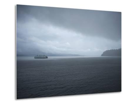 A Ferry Boat Moves Through Stormy Weather From Vashon Island to West Seattle. Washington State, USA-Aaron McCoy-Metal Print