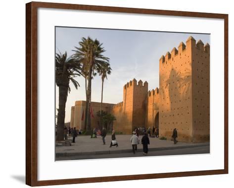 City Walls Surrounding the Medina, Rabat, Morocco, North Africa, Africa-Graham Lawrence-Framed Art Print