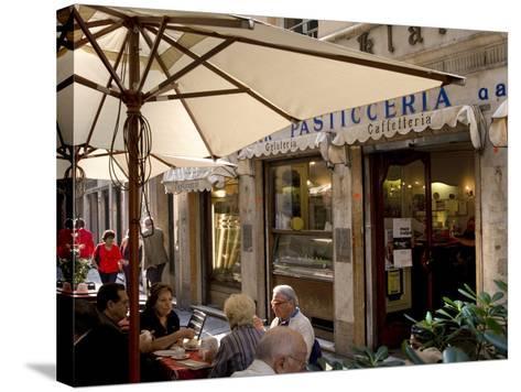 Cafe, Genoa Port, Liguria, Italy, Europe-Charles Bowman-Stretched Canvas Print