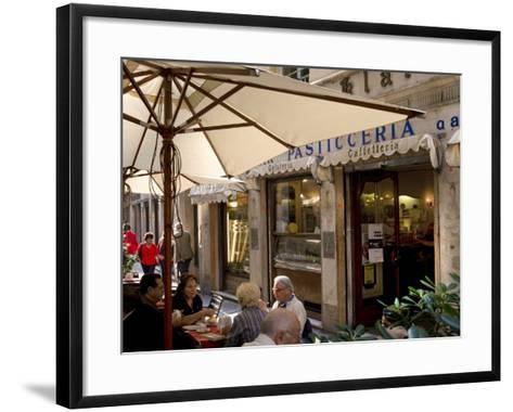 Cafe, Genoa Port, Liguria, Italy, Europe-Charles Bowman-Framed Art Print