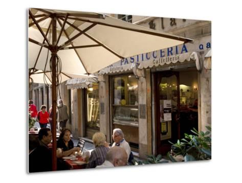 Cafe, Genoa Port, Liguria, Italy, Europe-Charles Bowman-Metal Print