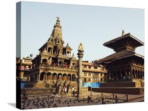 Krishna Mandir, a 7th Century Hindu Temple, UNESCO World Heritage Dite, Durbar Square, Patan, Nepal-Christian Kober-Stretched Canvas Print
