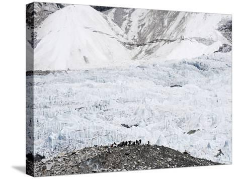 Trekkers Below the The Western Cwm Glacier at Everest Base Camp, Himalayas-Christian Kober-Stretched Canvas Print