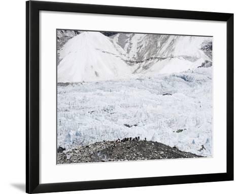 Trekkers Below the The Western Cwm Glacier at Everest Base Camp, Himalayas-Christian Kober-Framed Art Print