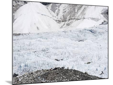 Trekkers Below the The Western Cwm Glacier at Everest Base Camp, Himalayas-Christian Kober-Mounted Photographic Print