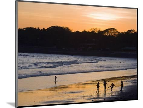 People Playing Football on the Beach at La Libertad, Pacific Coast, El Salvador, Central America-Christian Kober-Mounted Photographic Print