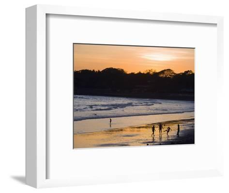 People Playing Football on the Beach at La Libertad, Pacific Coast, El Salvador, Central America-Christian Kober-Framed Art Print