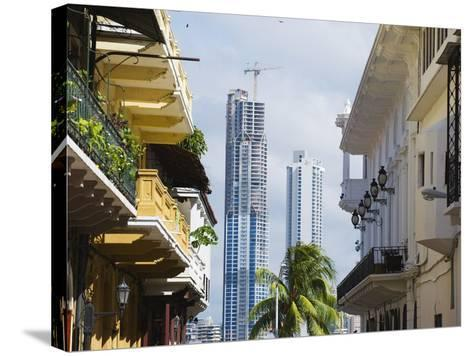 Modern Skyscrapers and Historical Old Town, UNESCO World Heritage Site, Panama City, Panama-Christian Kober-Stretched Canvas Print