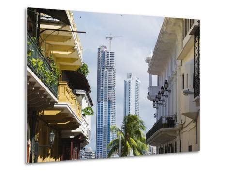 Modern Skyscrapers and Historical Old Town, UNESCO World Heritage Site, Panama City, Panama-Christian Kober-Metal Print