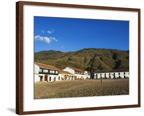 Plaza Mayor, Largest Public Square in Colombia, Colonial Town of Villa De Leyva, Colombia-Christian Kober-Framed Art Print
