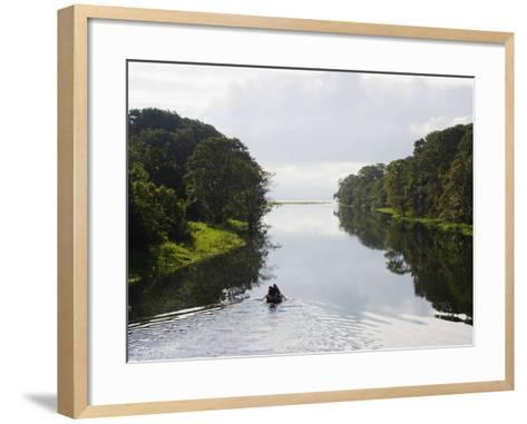 Boat on Lago De Yojoa, Lake Yojoa, Honduras, Central America-Christian Kober-Framed Art Print