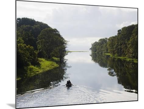 Boat on Lago De Yojoa, Lake Yojoa, Honduras, Central America-Christian Kober-Mounted Photographic Print