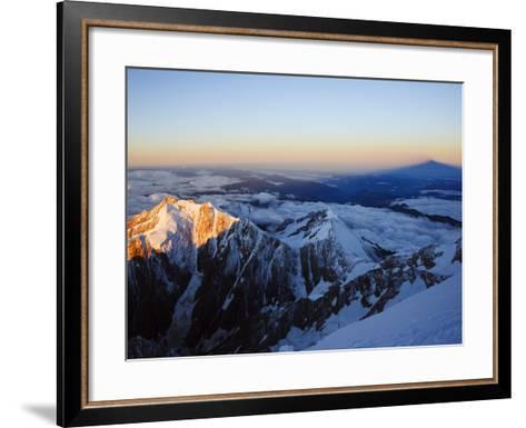 Sunrise, Shadow of Mont Blanc, Mont Blanc Range, Chamonix, French Alps, France, Europe-Christian Kober-Framed Art Print