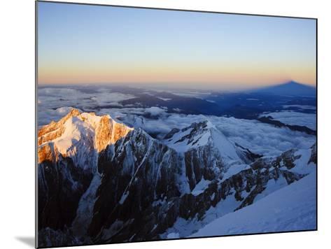 Sunrise, Shadow of Mont Blanc, Mont Blanc Range, Chamonix, French Alps, France, Europe-Christian Kober-Mounted Photographic Print