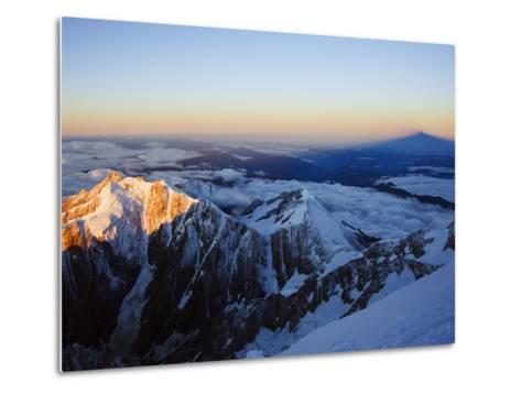 Sunrise, Shadow of Mont Blanc, Mont Blanc Range, Chamonix, French Alps, France, Europe-Christian Kober-Metal Print