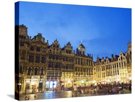 Guildhalls in the Grand Place Illuminated at Night, UNESCO World Heritage Site, Brussels, Belgium-Christian Kober-Stretched Canvas Print