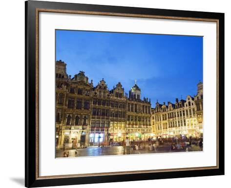 Guildhalls in the Grand Place Illuminated at Night, UNESCO World Heritage Site, Brussels, Belgium-Christian Kober-Framed Art Print