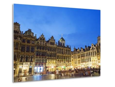 Guildhalls in the Grand Place Illuminated at Night, UNESCO World Heritage Site, Brussels, Belgium-Christian Kober-Metal Print