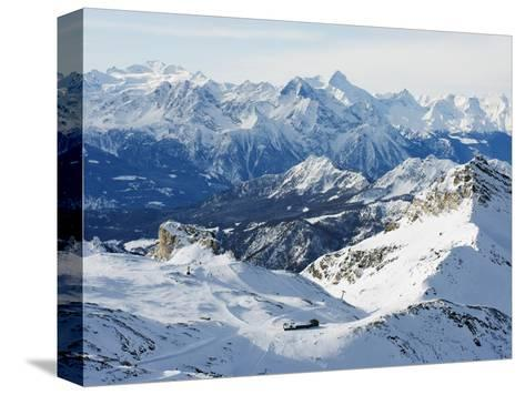 Mountain Scenery in Cervinia Ski Resort, Cervinia, Valle D'Aosta, Italian Alps, Italy, Europe-Christian Kober-Stretched Canvas Print