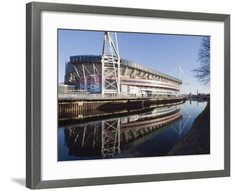 Reflection of Millennium Stadium in River Taff, Cardiff, Wales, United Kingdom, Europe-Christian Kober-Framed Art Print