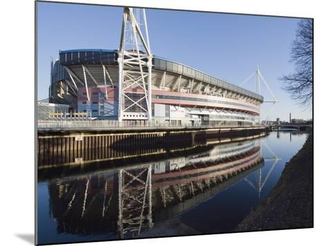 Reflection of Millennium Stadium in River Taff, Cardiff, Wales, United Kingdom, Europe-Christian Kober-Mounted Photographic Print