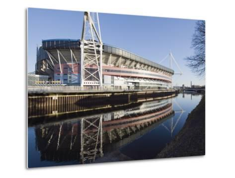 Reflection of Millennium Stadium in River Taff, Cardiff, Wales, United Kingdom, Europe-Christian Kober-Metal Print