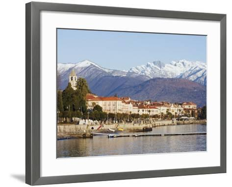 Snow Capped Mountains Above Stresa Waterfront, Lake Maggiore, Italian Lakes, Piedmont-Christian Kober-Framed Art Print