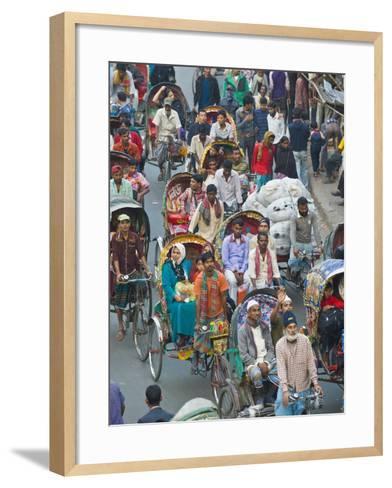Busy Rickshaw Traffic on a Street Crossing in Dhaka, Bangladesh, Asia-Michael Runkel-Framed Art Print