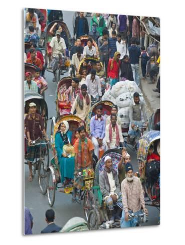 Busy Rickshaw Traffic on a Street Crossing in Dhaka, Bangladesh, Asia-Michael Runkel-Metal Print