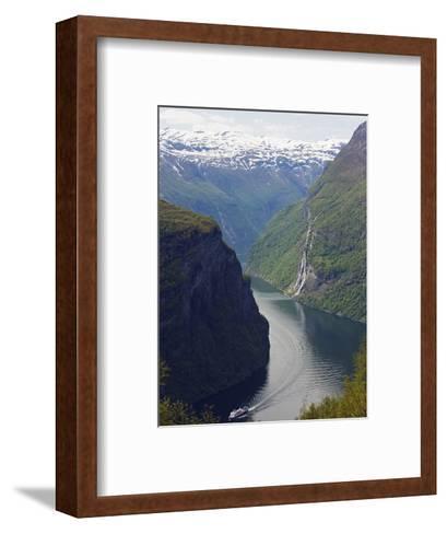 Tourist Cruise Ship on Geiranger Fjord, Western Fjords, Norway, Scandinavia, Europe-Christian Kober-Framed Art Print