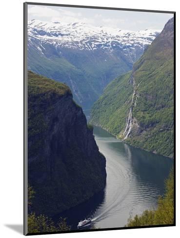 Tourist Cruise Ship on Geiranger Fjord, Western Fjords, Norway, Scandinavia, Europe-Christian Kober-Mounted Photographic Print