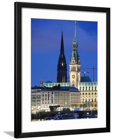 City Illuminated at Night on Lake Binnenalster, Hamburg, Germany, Europe-Christian Kober-Framed Art Print