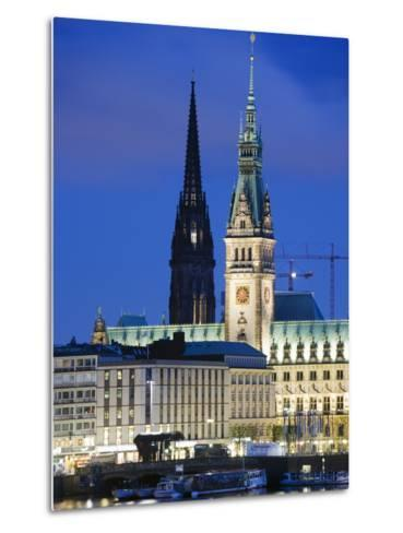 City Illuminated at Night on Lake Binnenalster, Hamburg, Germany, Europe-Christian Kober-Metal Print