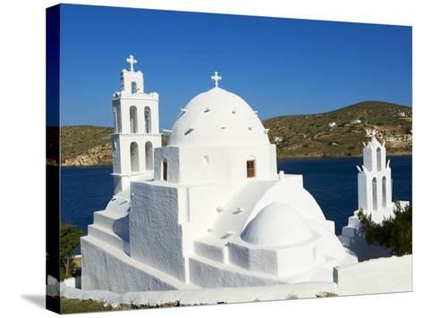 Agia Irini Church Near the Harbour, Ormos, Ios Island, Cyclades, Greek Islands, Greece, Europe--Stretched Canvas Print