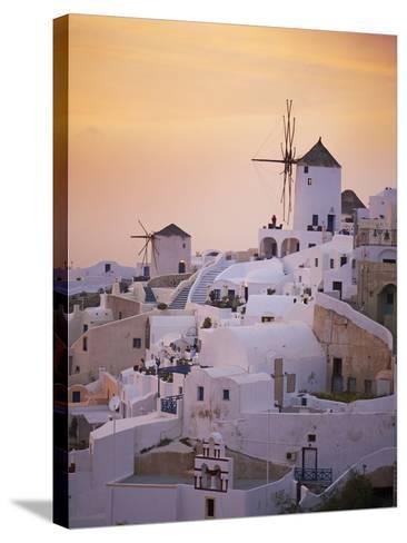 Oia (Ia) Village and Windmill, Santorini, Cyclades, Greek Islands, Greece, Europe--Stretched Canvas Print