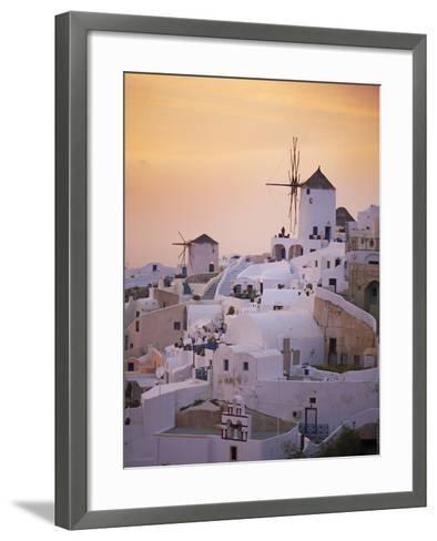 Oia (Ia) Village and Windmill, Santorini, Cyclades, Greek Islands, Greece, Europe--Framed Art Print