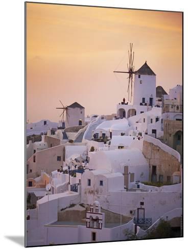 Oia (Ia) Village and Windmill, Santorini, Cyclades, Greek Islands, Greece, Europe--Mounted Photographic Print
