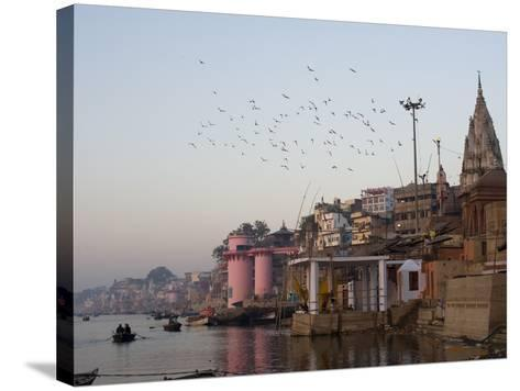 The Ganges River and Ghats of Varanasi, Uttar Pradesh, India, Asia--Stretched Canvas Print