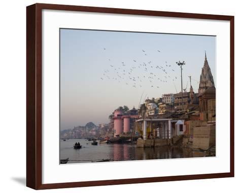 The Ganges River and Ghats of Varanasi, Uttar Pradesh, India, Asia--Framed Art Print