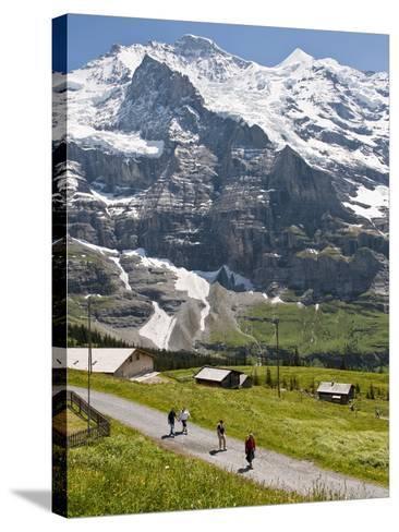 Hiking Below the Jungfrau Massif From Kleine Scheidegg, Jungfrau Region, Switzerland, Europe-Michael DeFreitas-Stretched Canvas Print
