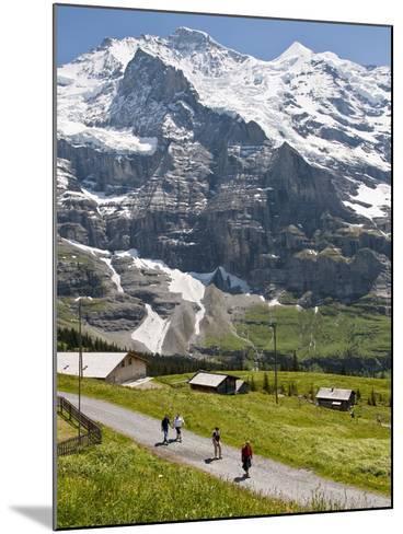 Hiking Below the Jungfrau Massif From Kleine Scheidegg, Jungfrau Region, Switzerland, Europe-Michael DeFreitas-Mounted Photographic Print