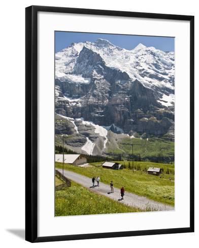 Hiking Below the Jungfrau Massif From Kleine Scheidegg, Jungfrau Region, Switzerland, Europe-Michael DeFreitas-Framed Art Print