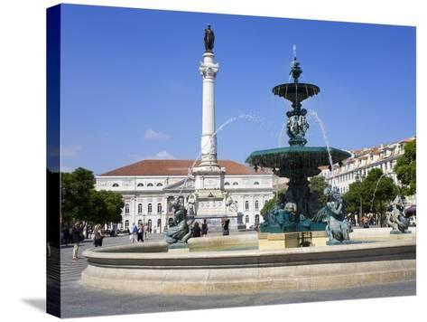 Dom Pedro Monument in the Rossio District, Lisbon, Portugal, Europe-Richard Cummins-Stretched Canvas Print