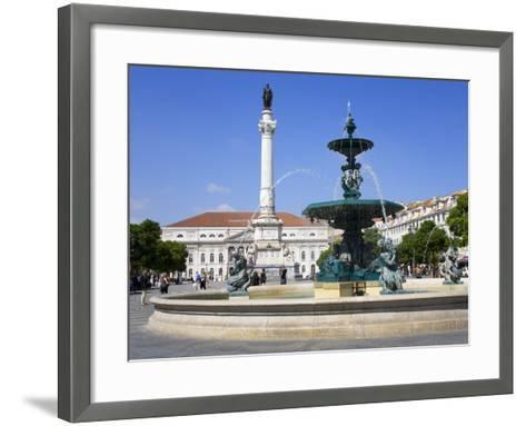Dom Pedro Monument in the Rossio District, Lisbon, Portugal, Europe-Richard Cummins-Framed Art Print